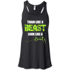 Train Like a Beast, Look Like a Beauty Apparel CustomCat Bella+Canvas Flowy Racerback Tank Black X-Small