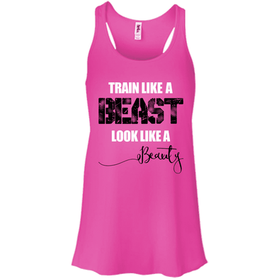 Train Like a Beast, Look Like a Beauty Apparel CustomCat Bella+Canvas Flowy Racerback Tank Neon Pink X-Small