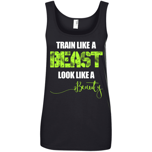 Train Like a Beast, Look Like a Beauty Apparel CustomCat Ladies' 100% Ringspun Cotton Tank Top Black Small
