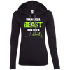 Train Like a Beast, Look Like a Beauty Apparel CustomCat Ladies LS T-Shirt Hoodie Black/Dark Grey Small
