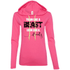 Train Like a Beast, Look Like a Beauty Apparel CustomCat Ladies LS T-Shirt Hoodie Hot Pink/Neon Yellow Small