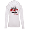 Train Like a Beast, Look Like a Beauty Apparel CustomCat Ladies LS T-Shirt Hoodie White/Dark Grey Small