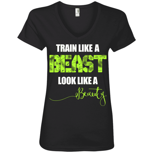 Train Like a Beast, Look Like a Beauty Apparel CustomCat Ladies' V-Neck Tee Black Small