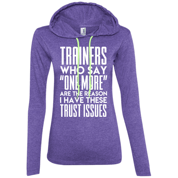 Trainers Give Me Trust Issues Hoodies Apparel CustomCat 887L Anvil Ladies' LS T-Shirt Hoodie Heather Purple/Neon Yellow Small