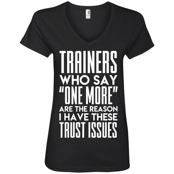 Trainers Give Me Trust Issues Tees Apparel CustomCat 88VL Anvil Ladies' V-Neck T-Shirt Black Small
