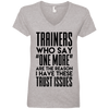 Trainers Give Me Trust Issues Tees Apparel CustomCat 88VL Anvil Ladies' V-Neck T-Shirt Heather Grey Small