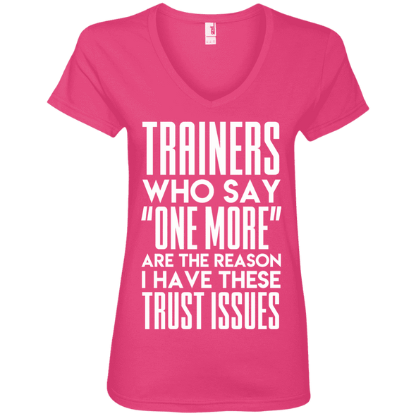 Trainers Give Me Trust Issues Tees Apparel CustomCat 88VL Anvil Ladies' V-Neck T-Shirt Hot Pink Small