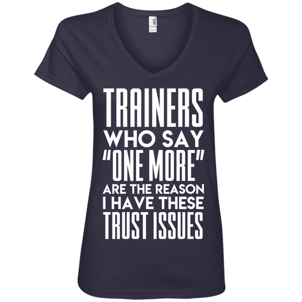 Trainers Give Me Trust Issues Tees Apparel CustomCat 88VL Anvil Ladies' V-Neck T-Shirt Navy Small