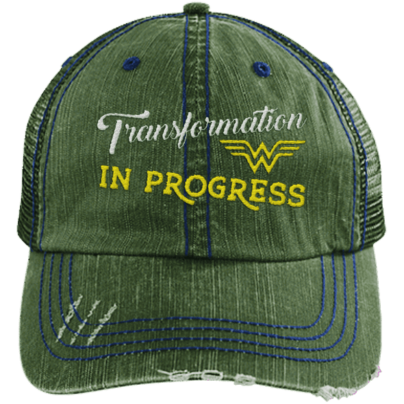 Transformation in Progress Hats CustomCat Dark Green One Size