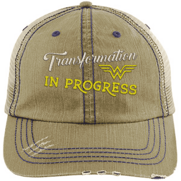 Transformation in Progress Hats CustomCat Khaki One Size