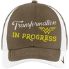 Transformation in Progress Hats CustomCat Olive Khaki/White One size
