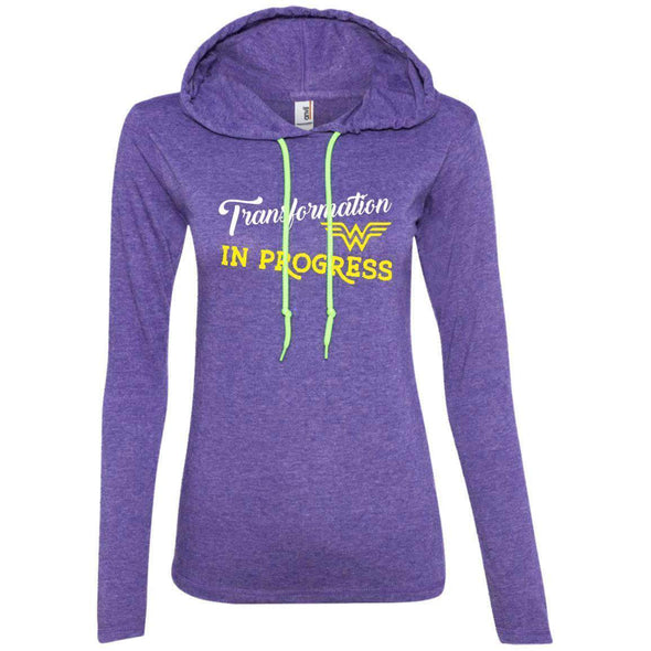 Transformation in Progress T-Shirts CustomCat Heather Purple/Neon Yellow Small