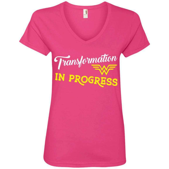 Transformation in Progress T-Shirts CustomCat Hot Pink Small