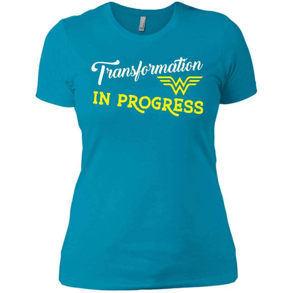 Transformation in Progress T-Shirts CustomCat Turquoise X-Small