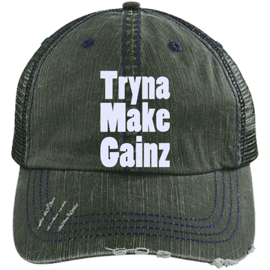 Tryna Make Gainz Distressed Trucker Cap Apparel CustomCat 6990 Distressed Unstructured Trucker Cap Dark Green/Navy One Size
