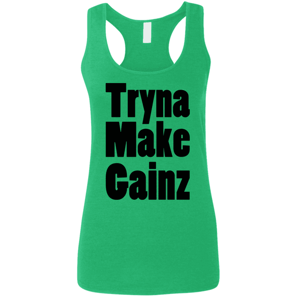 Tryna Make Gainz (Soft Tank) Apparel CustomCat Ladies Softstyle Racerback Tank Heather Irish Green Small