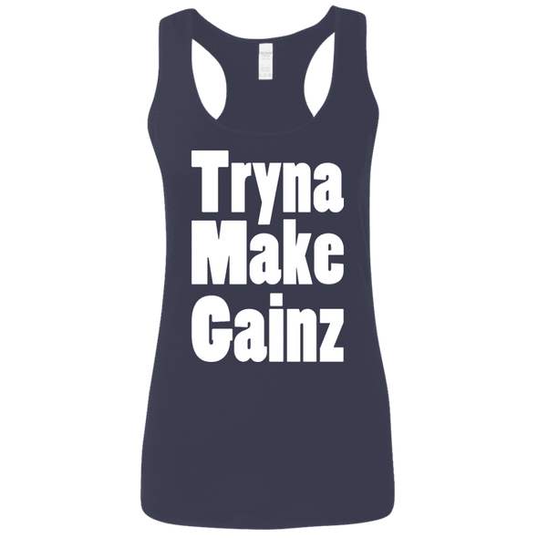 Tryna Make Gainz (Soft Tank) Apparel CustomCat Ladies Softstyle Racerback Tank Navy Small