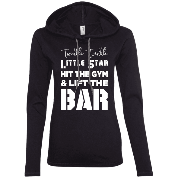 Twinkle Twinkle (Hoodies) Apparel CustomCat Ladies' LS T-Shirt Hoodie Black/Dark Grey Small