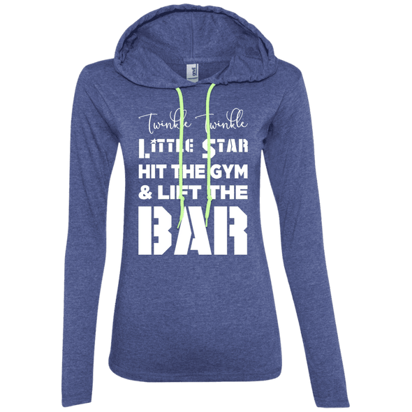 Twinkle Twinkle (Hoodies) Apparel CustomCat Ladies' LS T-Shirt Hoodie Heather Blue/Neon Yellow Small