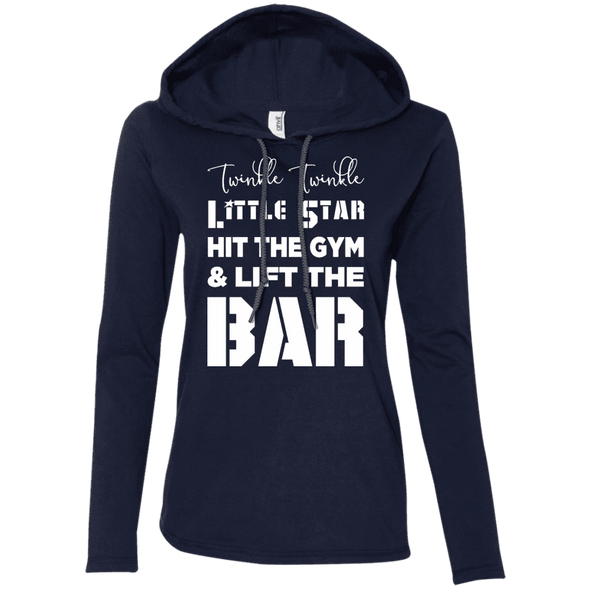 Twinkle Twinkle (Hoodies) Apparel CustomCat Ladies' LS T-Shirt Hoodie Navy/Dark Grey Small