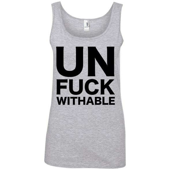 Un-Fuck-Withable Apparel CustomCat 882L Anvil Ladies' 100% Ringspun Cotton Tank Top Heather Grey Small