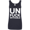 Un-Fuck-Withable Apparel CustomCat 882L Anvil Ladies' 100% Ringspun Cotton Tank Top Navy Small