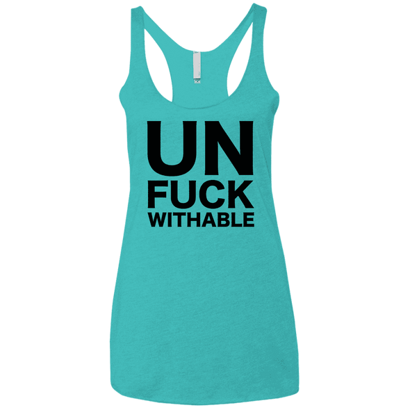 Un-Fuck-Withable Apparel CustomCat NL6733 Next Level Ladies' Triblend Racerback Tank Tahiti Blue X-Small