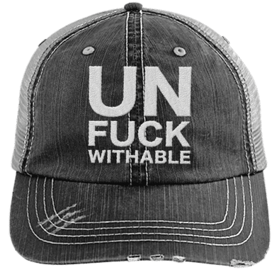 Un-Fuck-Withable Distressed Trucker Cap Apparel CustomCat 6990 Distressed Unstructured Trucker Cap Black/Grey One Size