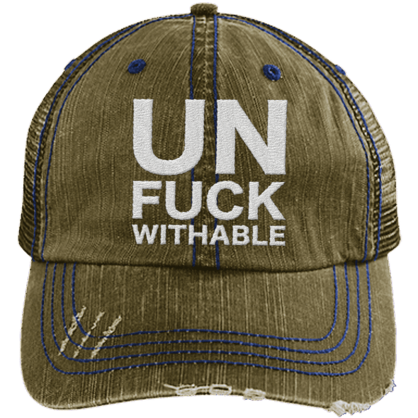 Un-Fuck-Withable Distressed Trucker Cap Apparel CustomCat 6990 Distressed Unstructured Trucker Cap Brown/Navy One Size