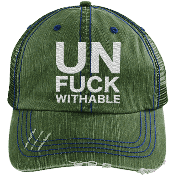 Un-Fuck-Withable Distressed Trucker Cap Apparel CustomCat 6990 Distressed Unstructured Trucker Cap Dark Green/Navy One Size