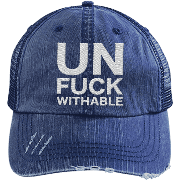 Un-Fuck-Withable Distressed Trucker Cap Apparel CustomCat 6990 Distressed Unstructured Trucker Cap Navy/Navy One Size