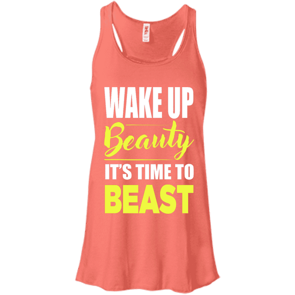 Wake Up Beauty it's Time to Beast Apparel CustomCat B8800 Bella + Canvas Flowy Racerback Tank Coral X-Small