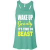 Wake Up Beauty it's Time to Beast Apparel CustomCat B8800 Bella + Canvas Flowy Racerback Tank Teal X-Small