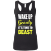 Wake Up Beauty it's Time to Beast Apparel CustomCat G645RL Gildan Ladies' Softstyle Racerback Tank Black Small