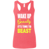 Wake Up Beauty it's Time to Beast Apparel CustomCat G645RL Gildan Ladies' Softstyle Racerback Tank Heather Red Small