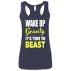 Wake Up Beauty it's Time to Beast Apparel CustomCat G645RL Gildan Ladies' Softstyle Racerback Tank Navy Small