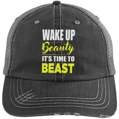 Wake Up Beauty it's Time to Beast Distressed Trucker Cap Apparel CustomCat 6990 Distressed Unstructured Trucker Cap Black/Grey One Size
