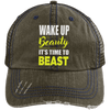 Wake Up Beauty it's Time to Beast Distressed Trucker Cap Apparel CustomCat 6990 Distressed Unstructured Trucker Cap Brown/Navy One Size
