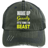 Wake Up Beauty it's Time to Beast Distressed Trucker Cap Apparel CustomCat 6990 Distressed Unstructured Trucker Cap Dark Green/Navy One Size