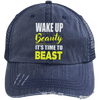 Wake Up Beauty it's Time to Beast Distressed Trucker Cap Apparel CustomCat 6990 Distressed Unstructured Trucker Cap Navy/Navy One Size