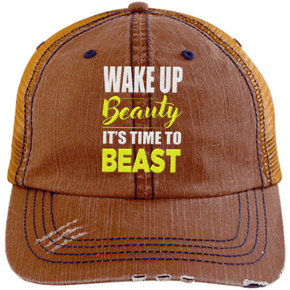 Wake Up Beauty it's Time to Beast Distressed Trucker Cap Apparel CustomCat 6990 Distressed Unstructured Trucker Cap Orange/Navy One Size