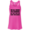 We All Know I'm a Handful Apparel CustomCat Bella+Canvas Flowy Racerback Tank Neon Pink X-Small