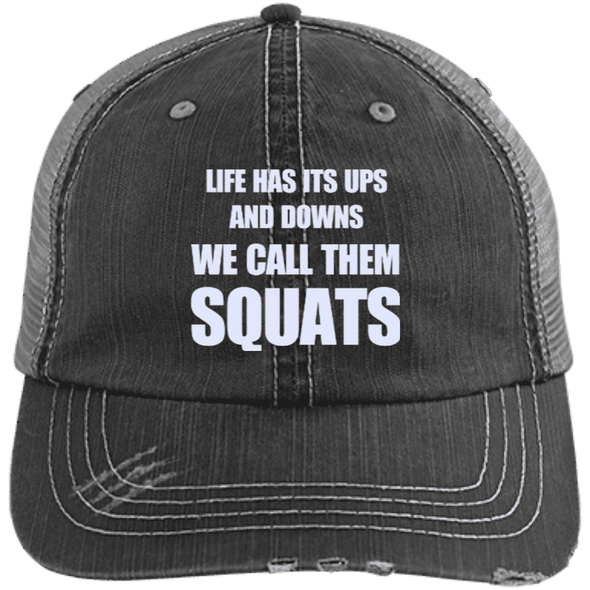 We Call them Squats Distressed Trucker Cap Apparel CustomCat 6990 Distressed Unstructured Trucker Cap Black/Grey One Size
