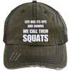 We Call them Squats Distressed Trucker Cap Apparel CustomCat 6990 Distressed Unstructured Trucker Cap Brown/Navy One Size