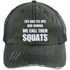 We Call them Squats Distressed Trucker Cap Apparel CustomCat 6990 Distressed Unstructured Trucker Cap Dark Green/Navy One Size