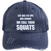 We Call them Squats Distressed Trucker Cap Apparel CustomCat 6990 Distressed Unstructured Trucker Cap Navy/Navy One Size