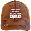We Call them Squats Distressed Trucker Cap Apparel CustomCat 6990 Distressed Unstructured Trucker Cap Orange/Navy One Size