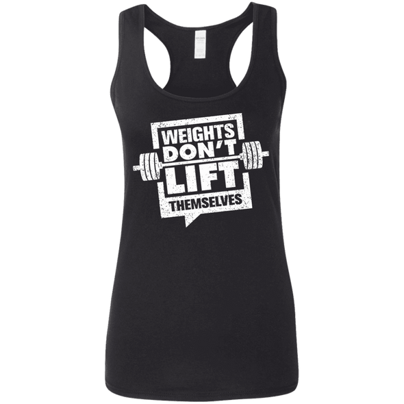 Weights Don't Lift Themselves Apparel CustomCat G645RL Gildan Ladies' Softstyle Racerback Tank Black Small