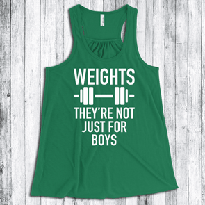 Weights They're Not Just for Boys Apparel CustomCat B8800 Bella + Canvas Flowy Racerback Tank Kelly X-Small