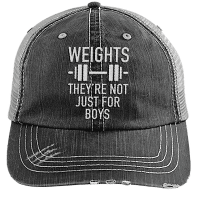 Weights They're Not Just for Boys Distressed Trucker Cap Apparel CustomCat 6990 Distressed Unstructured Trucker Cap Black/Grey One Size